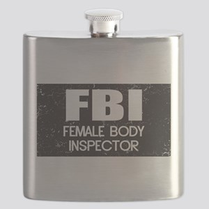 Female Body Inspector - Distressed Texture Flask