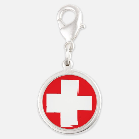 First Aid Silver Round Charm
