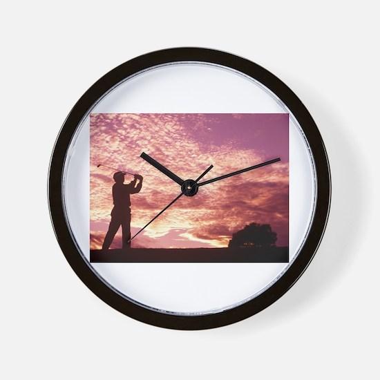 golf sun set.jpg Wall Clock
