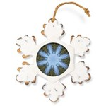 Forest Blue 8pt Rustic Snowflake Ornament