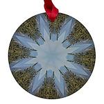 Forest Blue 8pt Maple Round Ornament