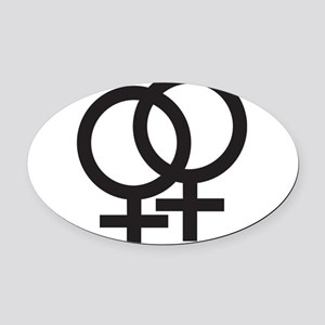 Gay Symbol - Female Oval Car Magnet