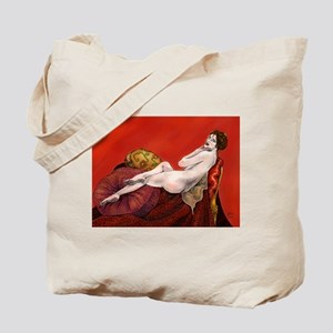Woman On Red Sofa Tote Bag