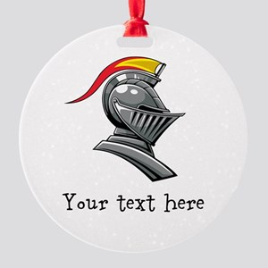 Customizable Knights Helmet Round Ornament