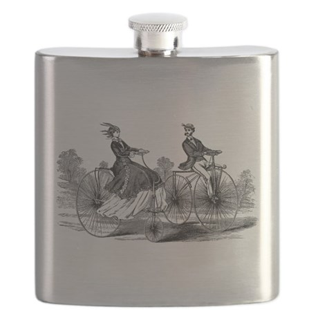 Old Fashioned Big Bicycle Couple Flask
