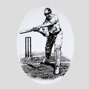 Cricket Player Ornament (Oval)