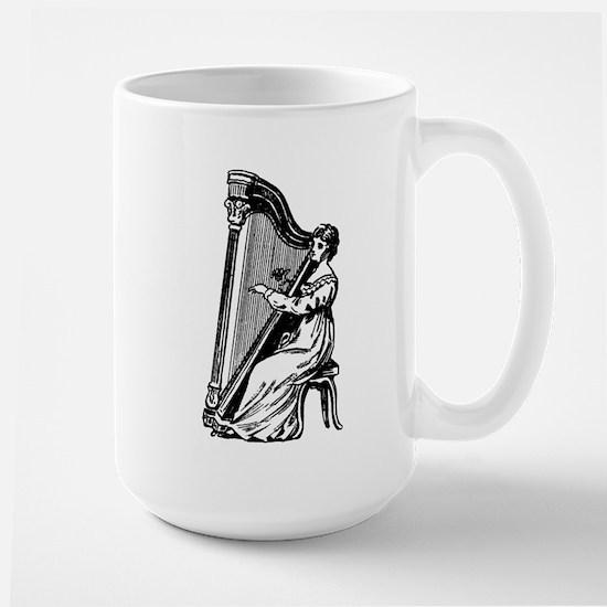 Woman Playing Harp Large Mug