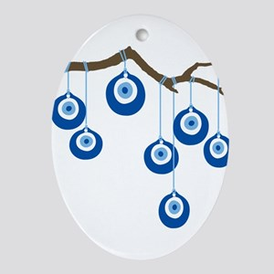 Blue Eye Amulets On Branch Ornament (Oval)