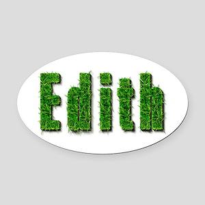 Edith Grass Oval Car Magnet