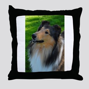 "Sable & White Collie ""Boots"" Throw Pillow"