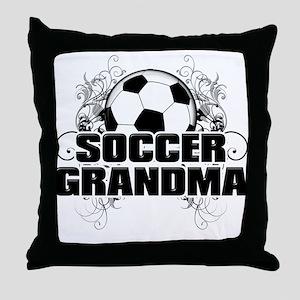 Soccer Grandma (cross) Throw Pillow
