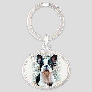 french bulldog Oval Keychain