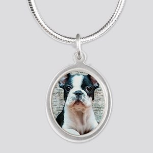 french bulldog Silver Oval Necklace