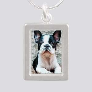 french bulldog Silver Portrait Necklace