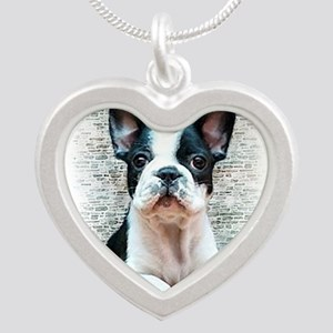 french bulldog Silver Heart Necklace