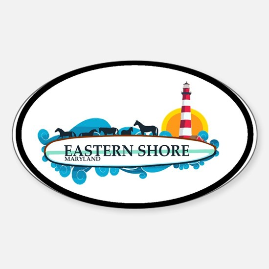 Eastern Shore MD - Surf Design. Sticker (Oval)