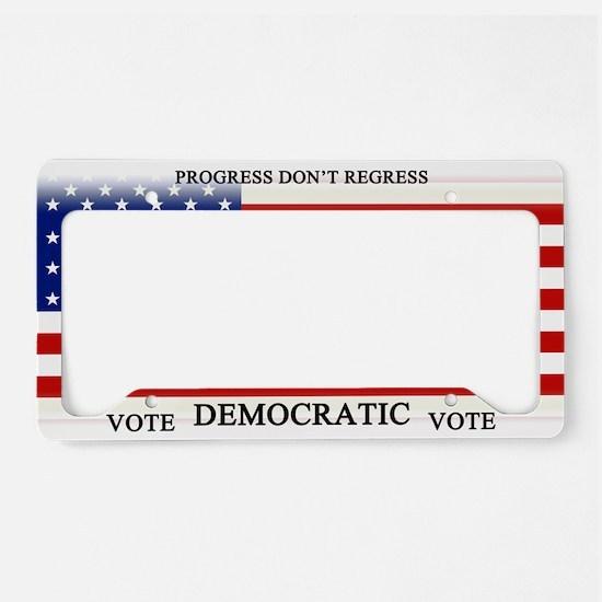 Vote Democratic Progress License Plate Holder
