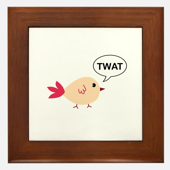 Twat said the bird Framed Tile