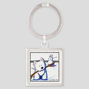 Westie One-Arm Bandit Square Keychain