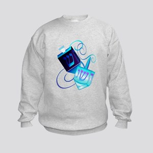 Two Dreidels-Happy Spinning Kids Sweatshirt