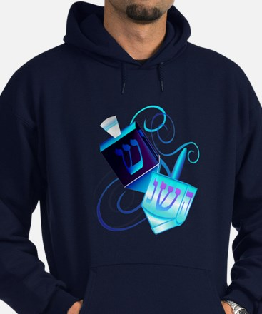 Two Dreidels-Happy Spinning Hoodie (dark)
