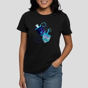 Two Dreidels-Happy Spinning Women's Dark T-Shirt