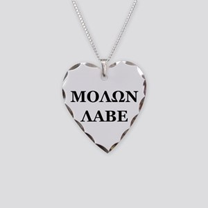 Molon Labe Necklace Heart Charm