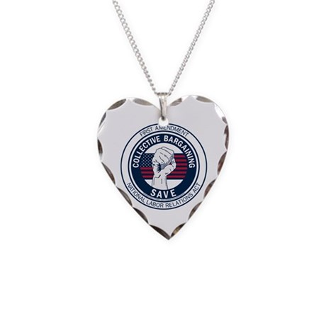 Save Collective Bargaining Necklace Heart Charm