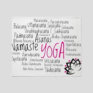 Namaste Yoga Asanas Poses Throw Blanket