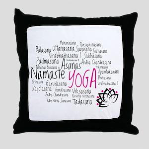 Namaste Yoga Asanas Poses Throw Pillow