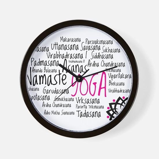 Namaste Yoga Asanas Poses Wall Clock