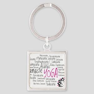 Namaste Yoga Asanas Poses Square Keychain