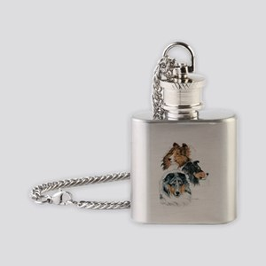 Sheltie Portraits Flask Necklace