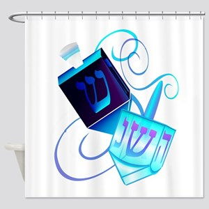 Two Dreidels-Happy Spinning Shower Curtain
