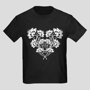 Art Noveau Flower Heart Kids Dark T-Shirt