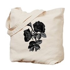 Gothic Black Roses Tote Bag