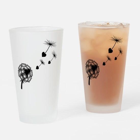 Dandelion Heart Seeds Drinking Glass