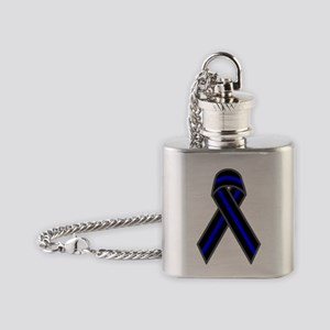 Blue Line Ribbon Flask Necklace