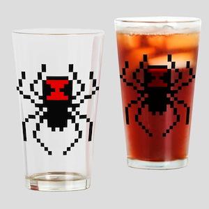 Pixel Black Widow Spider Drinking Glass
