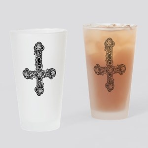 Inverted Cross And Roses Drinking Glass