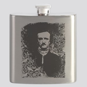 Poe On Raven Pattern Flask