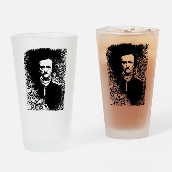 Poe On Raven Pattern Drinking Glass