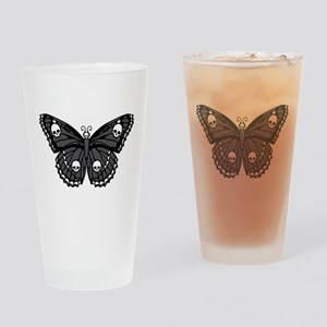 Gothic Skull Butterfly Drinking Glass