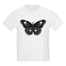 Gothic Skull Butterfly Kids Light T-Shirt