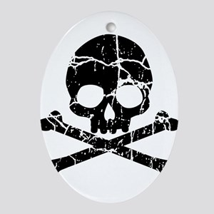 Crackled Skull And Crossbones Ornament (Oval)