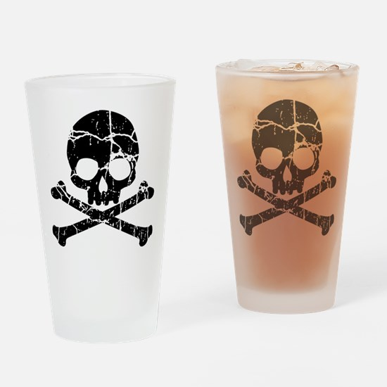 Crackled Skull And Crossbones Drinking Glass