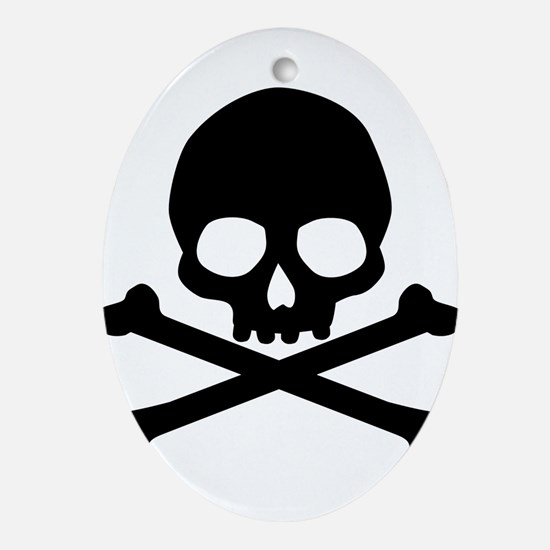 Simple Skull And Crossbones Ornament (Oval)