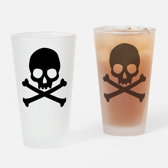 Simple Skull And Crossbones Drinking Glass