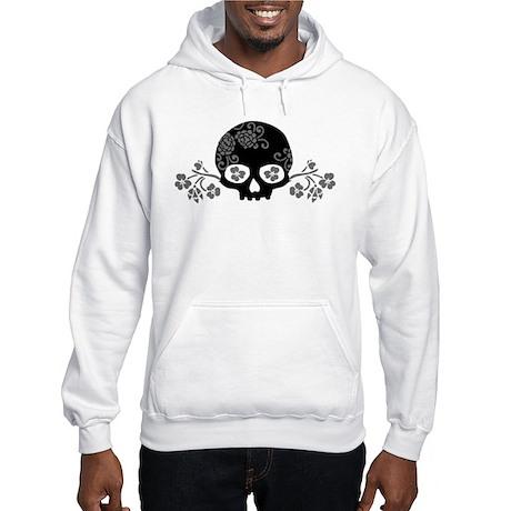 Skull With Flower Motif Hooded Sweatshirt