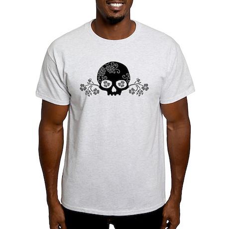 Skull With Flower Motif Light T-Shirt